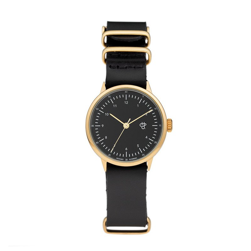Harold Mini Series Black Black Dial Black Military Leather Watch