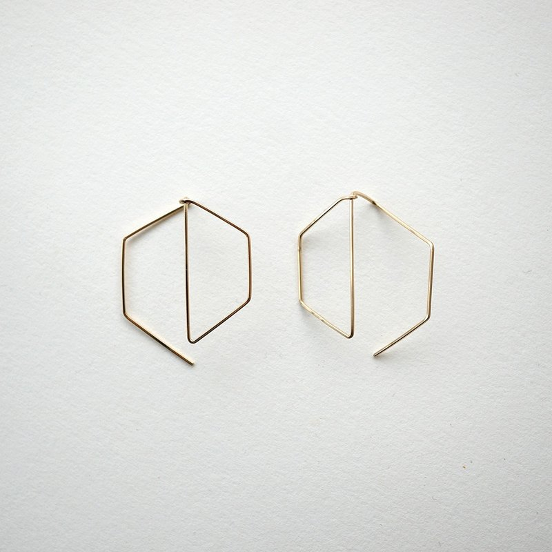 Hexagon shape pierce 14kgf hexagon earrings
