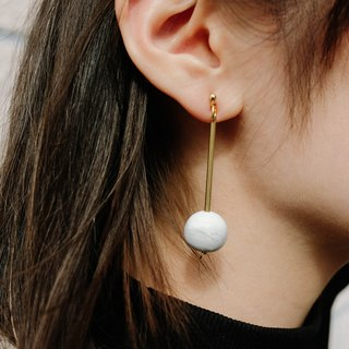 White Marble Pattern Large Concrete Bubble Brass Vintage Earrings