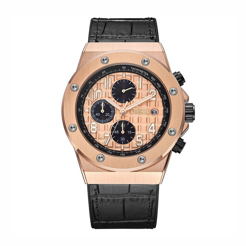 BAOGELA - ORLEANS Rose Gold Dial / Black Silicone Watch