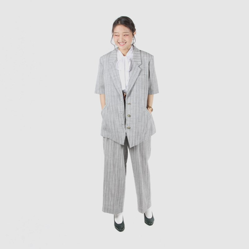 [Egg plant ancient] secluded pace hemp striped pants style vintage suit