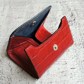Narrow leather purse rose red luxury crocodile