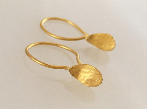 K24 Pure Gold Drops ◇ Pure gold earrings ◇ One ear, no lock hardware