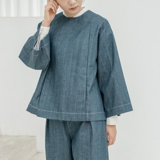 BUFU  oversized   Chinese-style denim coat