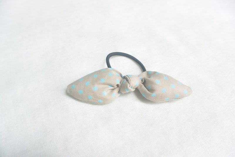Bow hair circle - gray blue water jade
