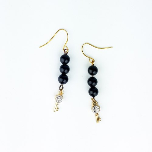 | Simple Series | Black Secret Black Onyx (Earrings x Ear clip x Handcrafted x Customized.)