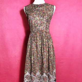 Embroidered flowers sleeveless vintage dress / abroad brought back VINTAGE