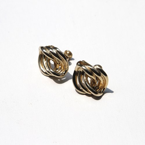[Egg Plant Vintage] Showa Vintage Clip Metal Antique Earrings