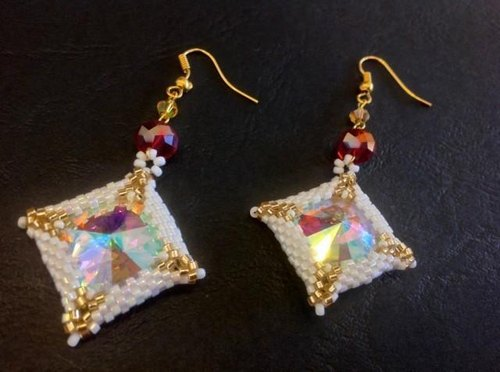 Glass is beautiful square window of earrings