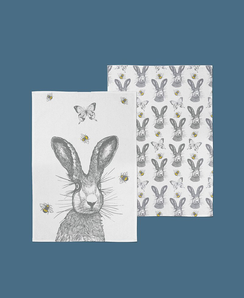 British Gillian Kyle Scottish hand-painted rabbit kitchen towel / wipe towel - a set of two into
