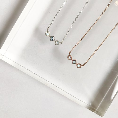 Three small gems rose gold clavicle necklace