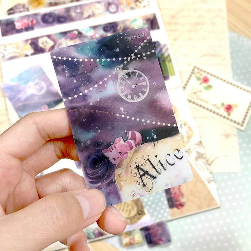 Masking tape card / bookmark - Alice on a starry night