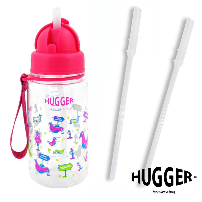 HUGGER Children's Straw Kettle Happy Bird Tritan Non-toxic Safety Material with Replacement Straw