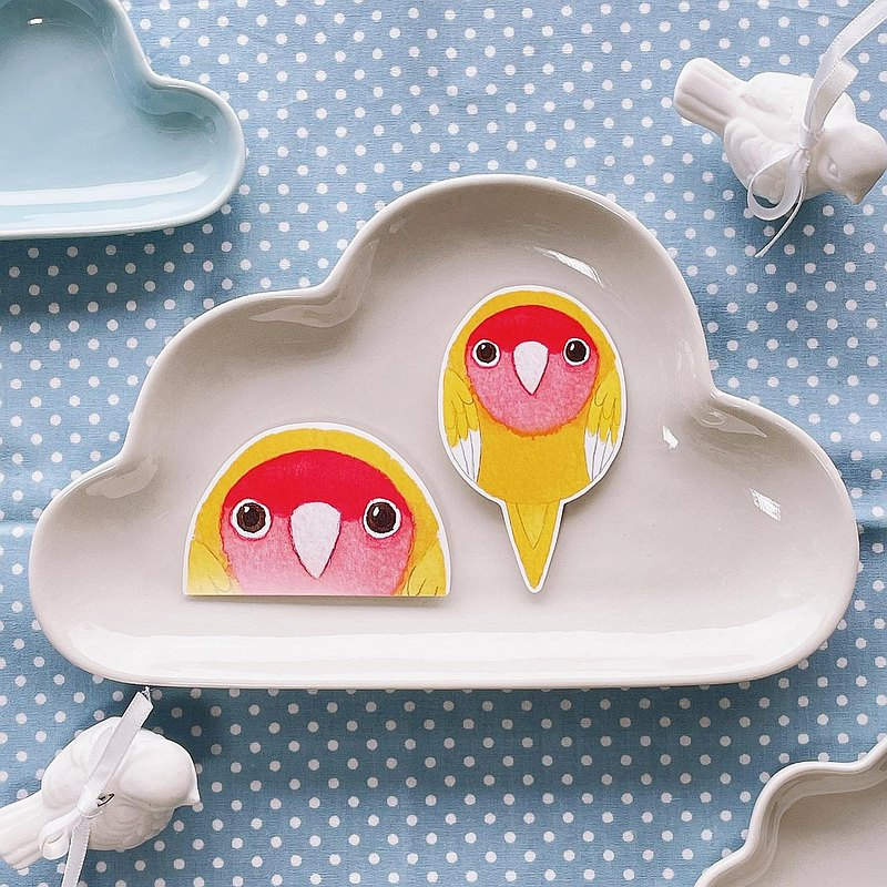 Rolia's hand-made love birds peach yellow parrot waterproof stickers