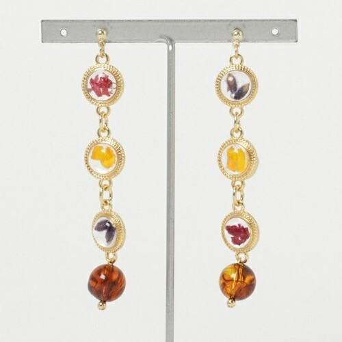 Gold frame pierced earrings*Gureko*