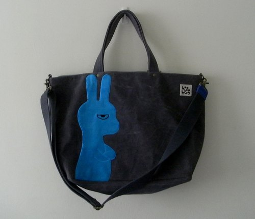 [Boo Boo Hug] Travel dark gray washed canvas tote bag - blue happy bunny