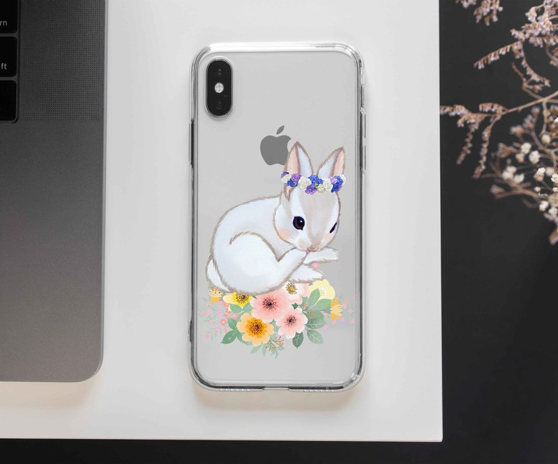 Watercolor rabbit flower Clear TPU Phone case iPhone XS XR Max Plus + S9 S10 HTC