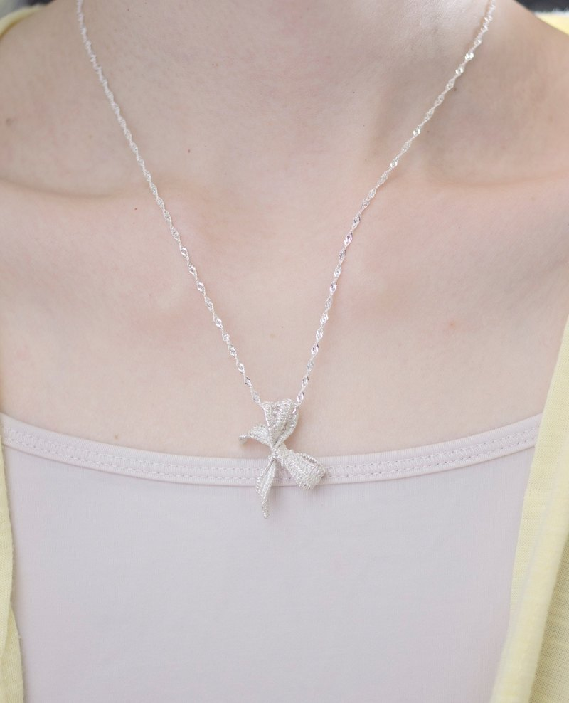 Lace Ribbon Bow Pendant Necklace Hand Made in Sterling Silver