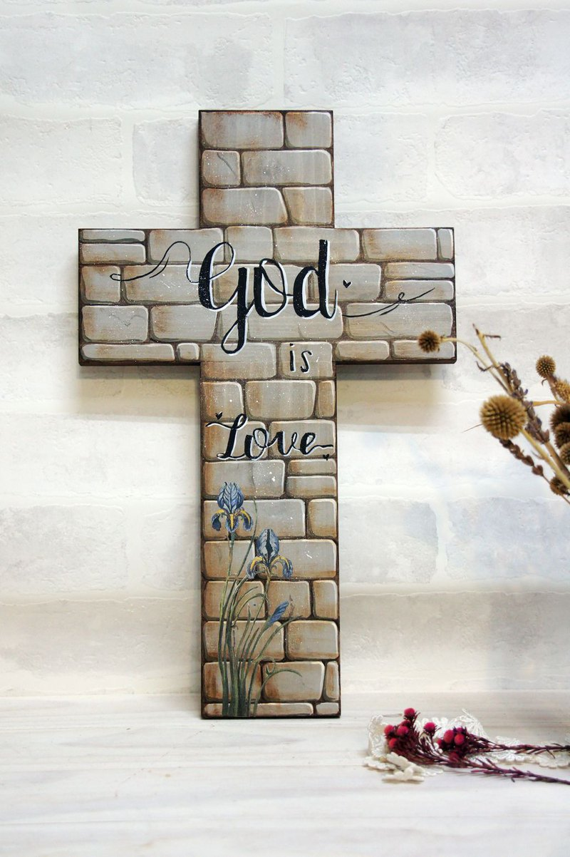 God is love hand-painted collage cross ornaments