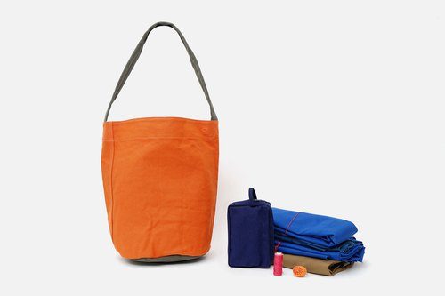 Mushroom MOGU/Canvas Shoulder Bags/Persimmon Orange/Afu