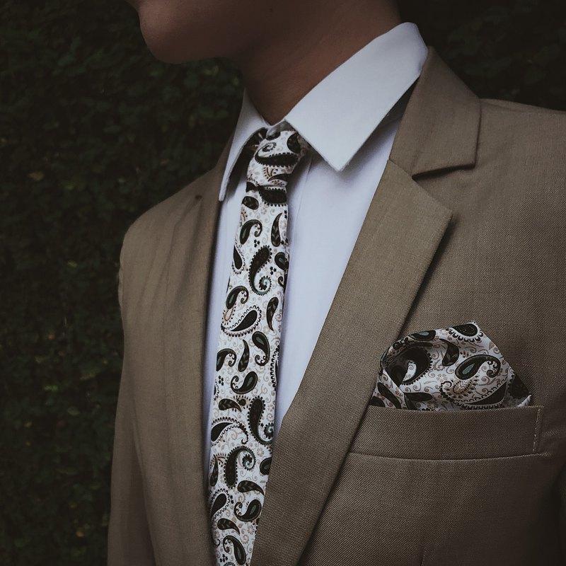 CAVEMAN領帶 -  EB佩斯利打印