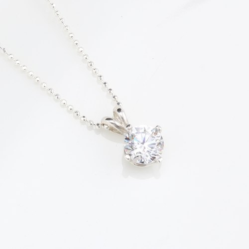 Crown 7mm Single Diamond cz s925 sterling silver necklace Valentine Day gift