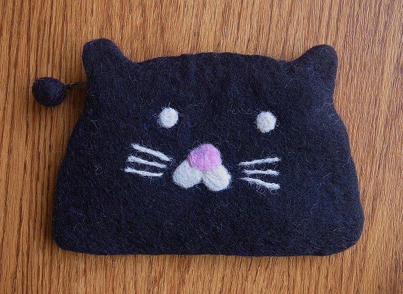 羊毛氈  手工 零錢包 動物 黑貓