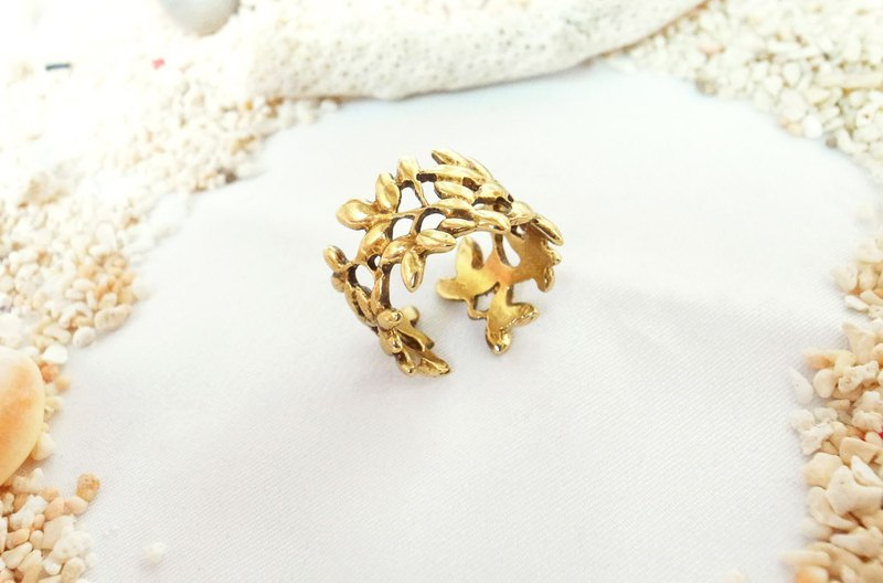 Branch embossed pure brass open ring anti-allergic copper