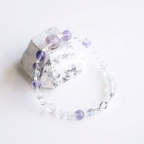 Powder round sense of natural fluorite bracelet 925 sterling silver custom gift natural stone light jewelry