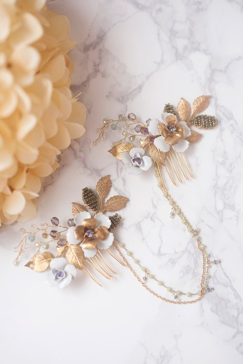 Olive Swirl hand-painted lacquered gold copper flower Japanese glass bead chain detachable comb / wedding headdress