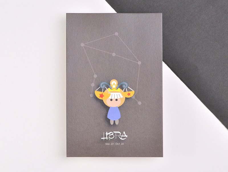 The 12 constellations character birthday card and postcard - Libra