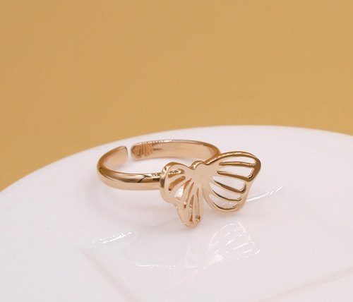 Little Butterfly No.2 Ring - Pink gold plated on brass, Animal Jewelry,birthday gifts