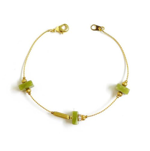 Ficelle | handmade brass natural stone bracelet | [olivine] Flames symbiotic - genial