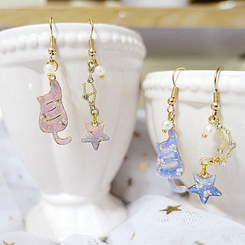 [Constellation Series] Little Cats Who Want to Pick Stars - Cloris Gift Real Flower Luminous Earrings