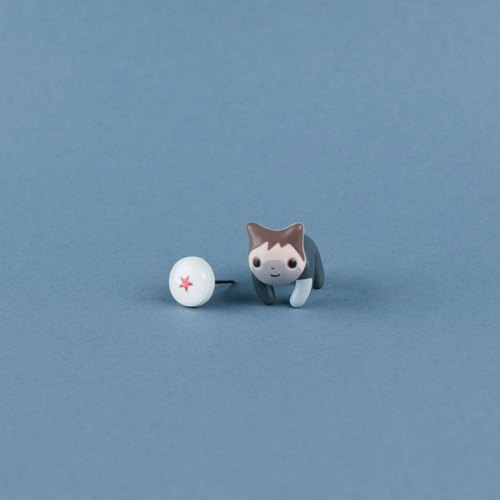 Cat Earrings - Polymer clay jewelry, Kawaii kitty stud, fake gauge/plug/tunnel