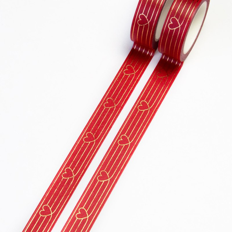 Red Heart to Heart 15mm x 10m Washi Tape - Gold Foil Hearts on Christmas Red