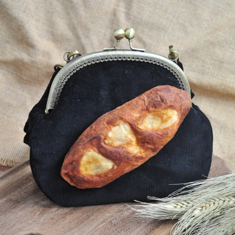 [For Handmade Wool Felt] Baguette Bread Decoration Large-mouth Gold Bag - Black - with color strap or metal back chain