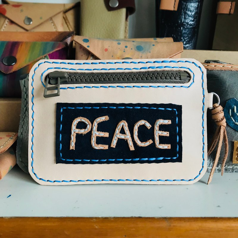 Spot blue peace peace coin purse clip universal bag sniffing leather hand made enJoy