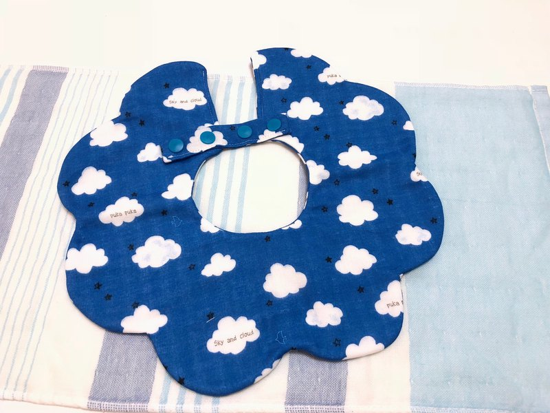 Cloud (dark blue) / Japanese eight-layer yarn three-stage growth bib. Saliva towel - double-sided petal shape