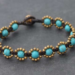 Beaded Bracelets Turquoise Stone Brass Woven Sunflower Bracelets