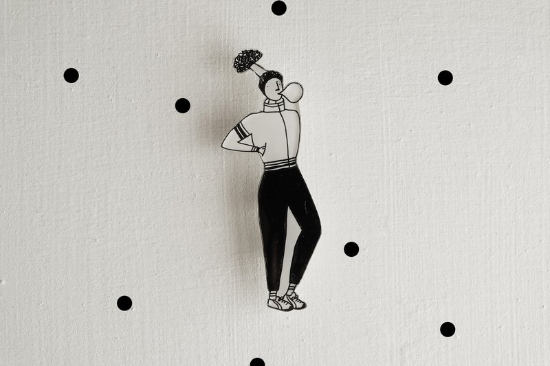 Miss Hairy Collection / Black and White Brooch / 025