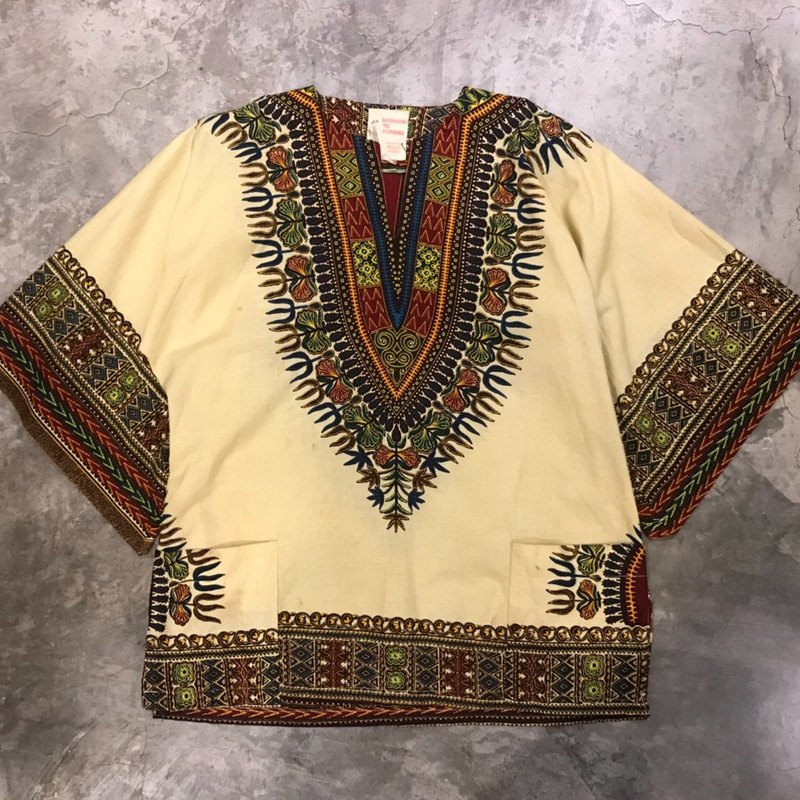 African traditional costume Dashiki top - yellow