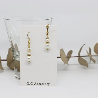 Classical elegant pearl rhinestone engraved brass drop earrings