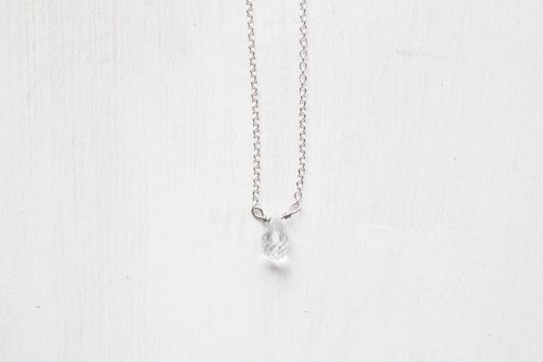 【APRIL 4-birthstone-White topaz】lucky clavicle silver necklace  (adjustable)