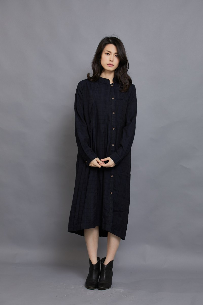 Bamboo long-sleeved shirt dress _ peony blue jacquard _ fair trade