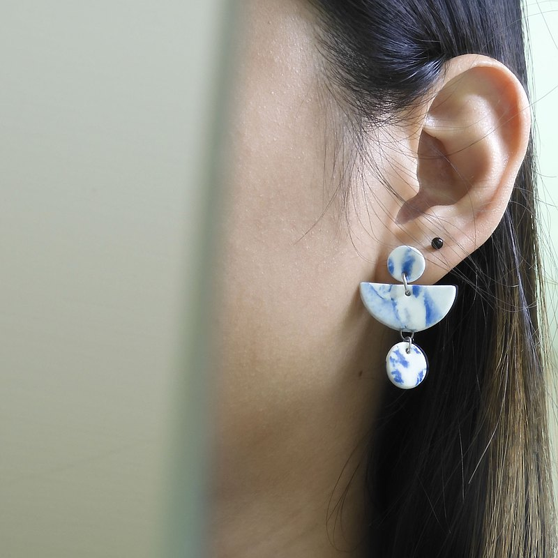 Stone Pattern Geometric White Porcelain Earrings-Vanessa Blue