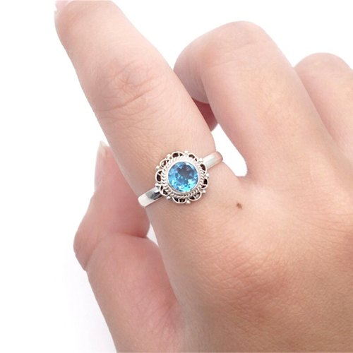 Blue Topaz 925 Silver Lace Ring Nepal handmade inlay production (style 2)