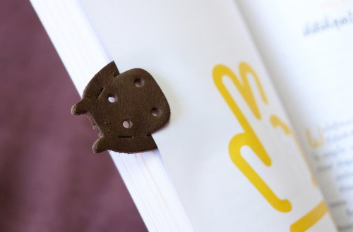 Leather Bookmark / Cute Animal Bookmark / Gift - Hippopotamus Dark Brown
