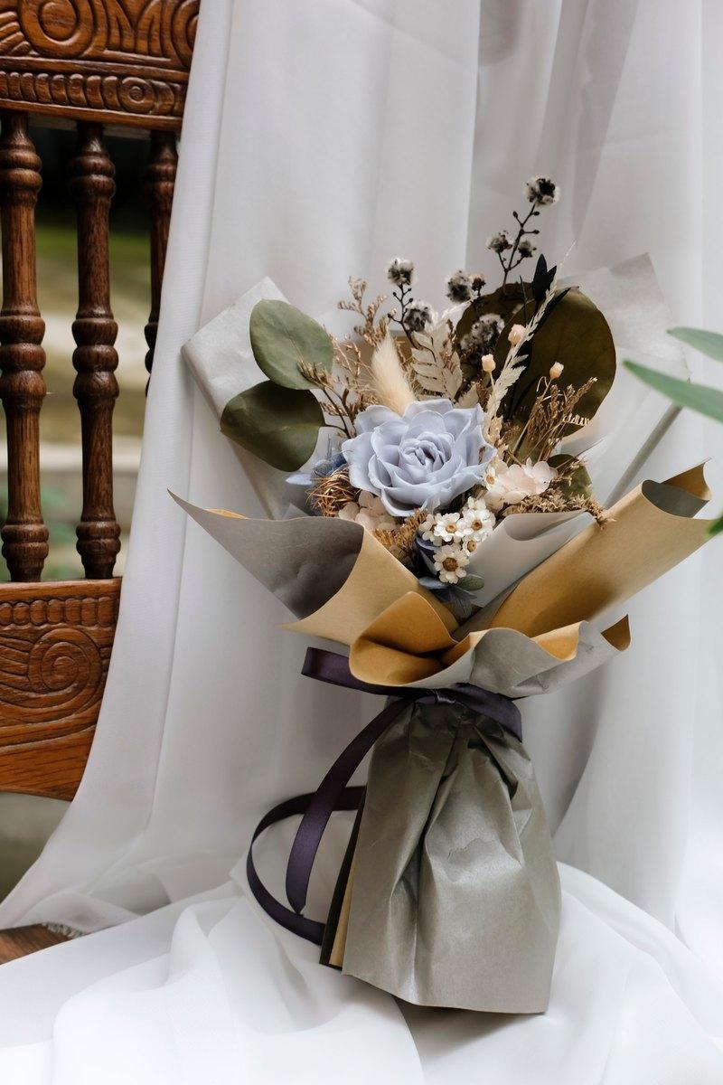 │花藝實驗所│灰藍色調花束 永生花束