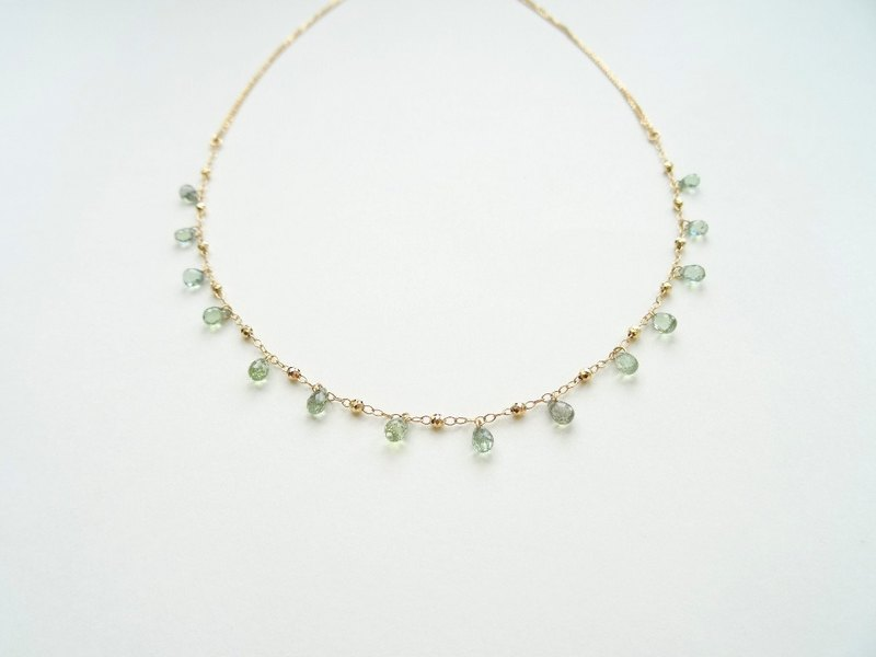 18K Yellow Solid Gold Dazzling Green Sapphire Drop Necklace (Adjustable Length)